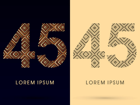45 Luxury font designed using gold and brown bronze line square geometric shape with black and white tone logo symbol icon graphic vector. Vector