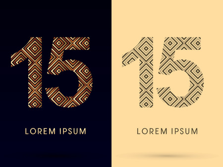 15 Luxury font designed using gold and brown bronze line square geometric shape with black and white tone logo symbol icon graphic vector. Vector