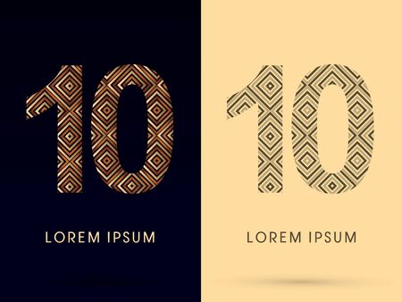 10 Luxury font designed using gold and brown bronze line square geometric shape with black and white tone logo symbol icon graphic vector. Vector