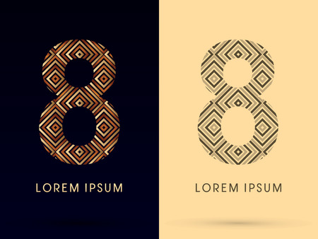 8 Luxury font designed using gold and brown bronze line square geometric shape with black and white tone logo symbol icon graphic vector. Vector