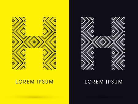 h: H Luxury font designed using black and white line square geometric shape symbol icon graphic vector.