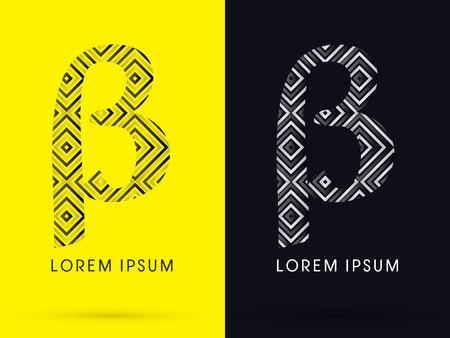 beta: Beta Luxury font designed using black and white line square geometric shape symbol icon graphic vector.