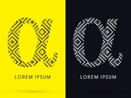 alpha: Alpha Luxury font designed using black and white line square geometric shape symbol icon graphic vector.