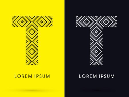 t square: T Luxury font designed using black and white line square geometric shape symbol icon graphic vector.