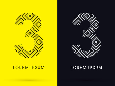 third birthday: 3 Luxury font designed using black and white line square geometric shape symbol icon graphic vector.