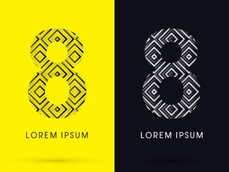 8 Luxury font designed using black and white line square geometric shape symbol icon graphic vector. Vector