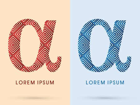alpha: Alpha Luxury font designed using red and blue line square geometric shape hot and cool tone symbol icon graphic vector. Illustration