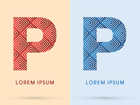 p buildings: P Luxury font designed using red and blue line square geometric shape hot and cool tone symbol icon graphic vector. Illustration