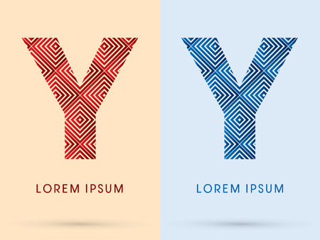 y ornament: Y Luxury font designed using red and blue line square geometric shape hot and cool tone symbol icon graphic vector. Illustration