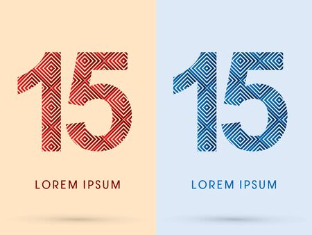 15  Number Luxury font designed using red and blue line square geometric shape hot and cool tone symbol icon graphic vector. Vector