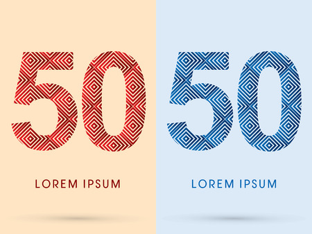 50 number: 50  Number Luxury font designed using red and blue line square geometric shape hot and cool tone symbol icon graphic vector.