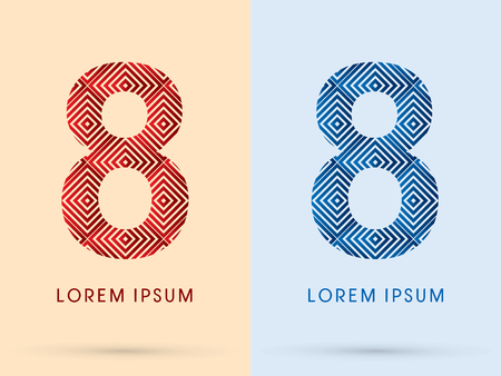 8 Number Luxury font designed using red and blue line square geometric shape hot and cool tone symbol icon graphic vector. Vector