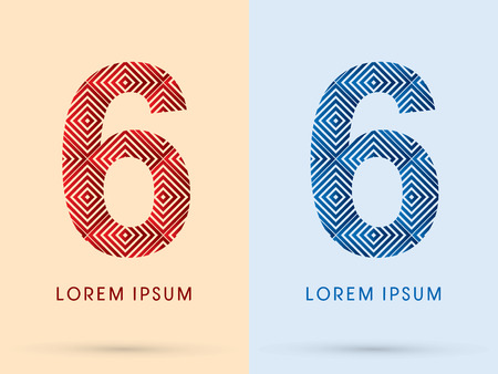6 Number Luxury font designed using red and blue line square geometric shape hot and cool tone symbol icon graphic vector.