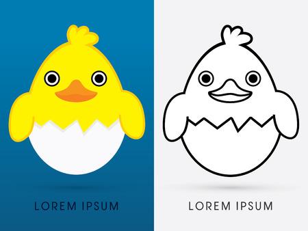 eggshell: Ducks and eggshell cartoon cute illustration. logo symbol icon graphic vector. Illustration