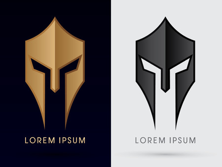 Roman or Greek Helmet  Spartan Helmet Head protection warriorsoldier logo symbol icon graphic vector. Stock Illustratie