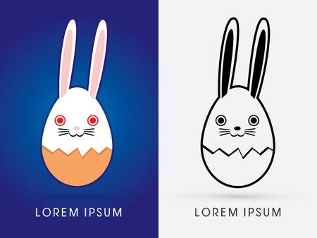 eggshell: Smile Rabbit Easter with eggshell cartoon cute illustration. logo symbol icon graphic vector.