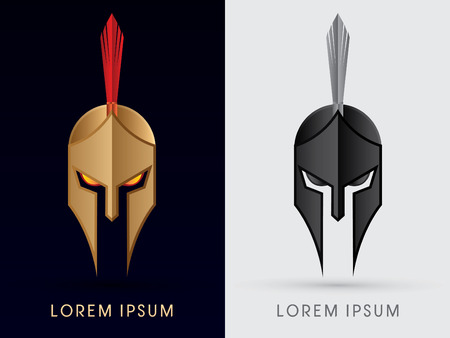 weapons: Roman or Greek Helmet  Spartan Helmet Head protection warriorsoldier logo symbol icon graphic vector. Illustration