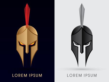 cabeza: Romano o griego Casco Spartan cabeza del casco icónico logo protección warriorsoldier símbolo gráfico vectorial.