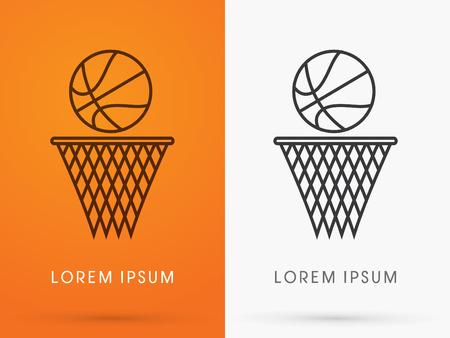 バスケット ボール ボール ロゴ シンボル アイコン グラフィック ベクトルの概要を説明します。