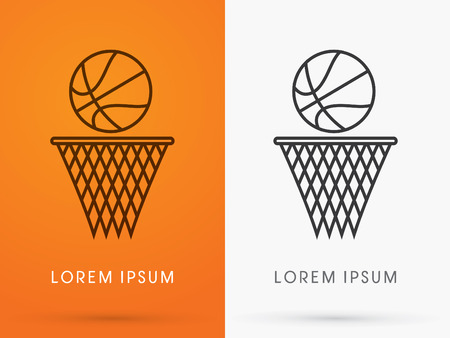 Outline Basketball ball logo symbol icon graphic vector.