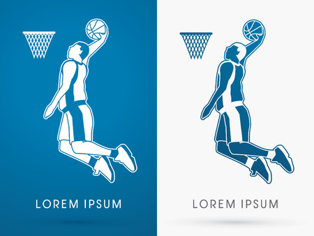 dunking: Outline Basketball Player jumps to dunk on blue background logo symbol icon graphic vector.