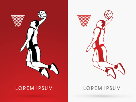 dunking: Outline Basketball Player jumps to dunk on red background logo symbol icon graphic vector. Illustration