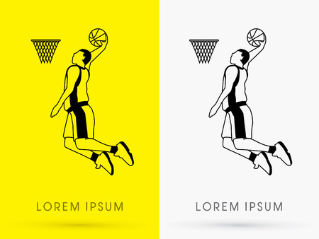 dunking: Outline Basketball Player jumps to dunk on yellow background logo symbol icon graphic vector. Illustration