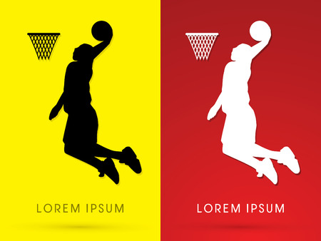 dunking: Silhouette Basketball Player jumps to dunk logo symbol icon graphic vector. Illustration