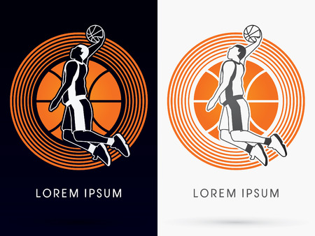 dunking: Outline Basketball Player jumps to dunk on basketball ball and cycle background logo symbol icon graphic vector. Illustration