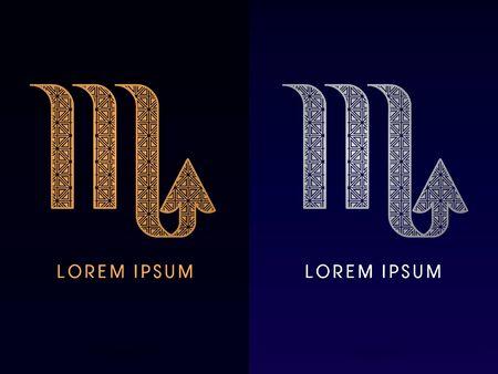 Scorpio Luxury Zodiac sign designed using gold and silver triangle geometric shape on dark background logo symbol icon graphic vector. Vector
