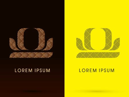 Libra Luxury Zodiac sign designed using gold bronze and black line square geometric shape on dark brown and yellow background logo symbol icon graphic vector. Vector
