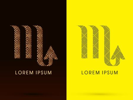 Scorpio Luxury Zodiac sign designed using gold bronze and black line square geometric shape on dark brown and yellow background logo symbol icon graphic vector. Vector