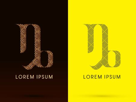 Capricorn Luxury Zodiac sign designed using gold bronze and black line square geometric shape on dark brown and yellow background logo symbol icon graphic vector. Vector