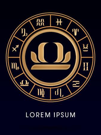 libra zodiac: Libra Luxury 12 Zodiac wheel cycle sign designed using gold line color on dark blue background logo symbol icon graphic vector. Illustration