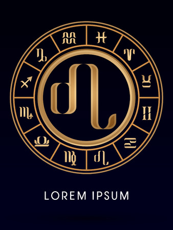 Leo Luxury 12 Zodiac wheel cycle sign designed using gold line color on dark blue background logo symbol icon graphic vector. Vector