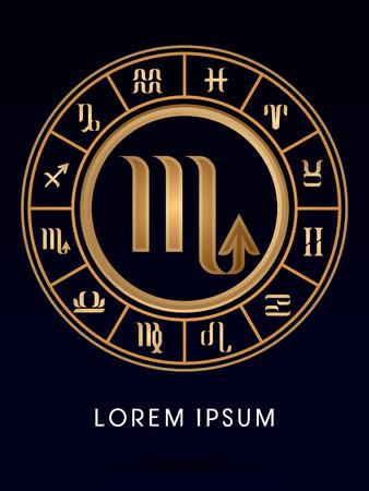 Scorpio Luxury 12 Zodiac wheel cycle sign designed using gold line color on dark blue background logo symbol icon graphic vector.