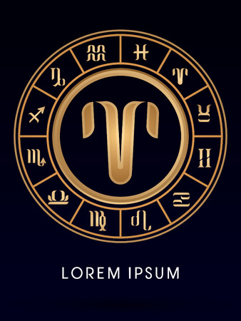 Aries Luxury 12 Zodiac Wheel Cycle Sign Designed Using Gold Line