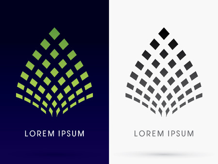 logo batiment: R�sum� architecture logo symbole ic�ne vecteur graphique Lotus Leaf. Illustration