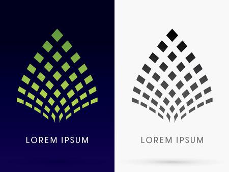 logo batiment: Résumé architecture logo symbole icône vecteur graphique Lotus Leaf. Illustration