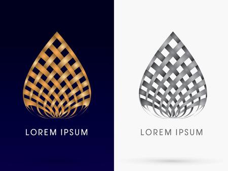logotipo de construccion: Configuraci�n abstracta del edificio de loto dise�ado utilizando oro de mimbre y linelogo negro del icono del s�mbolo gr�fico vectorial. Vectores