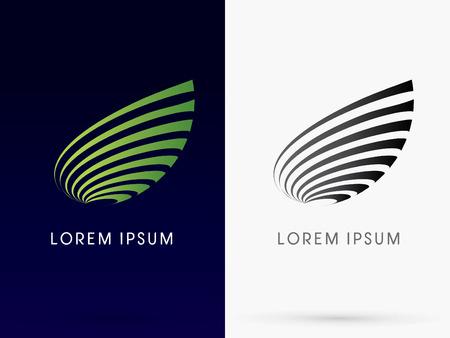 logotipo de construccion: Resumen de la hoja diseñada utilizando verde curva insignia línea del icono del símbolo gráfico vectorial.