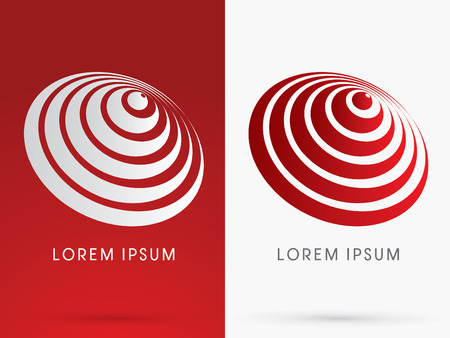 Abstract Wave Sound designed using red and white linelogo symbol icon graphic vector.
