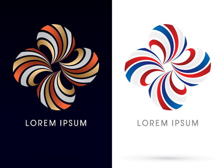 spin: Luxury jewelry Abstract windmill flower shape spin logo symbol icon graphic vector.