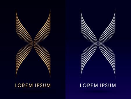 curvas: Abstract mariposa X alas de lujo dise�ados con oro y plata linelogo icono del s�mbolo gr�fico vectorial. Vectores