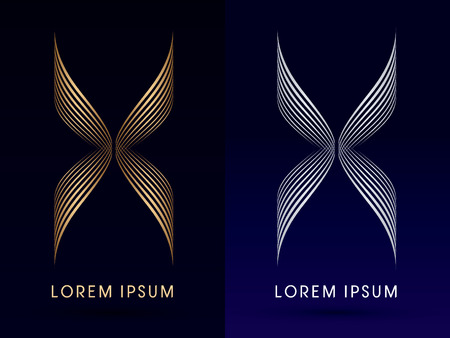 Luxury Abstract butterfly X  wings  designed using gold and silver linelogo symbol icon graphic vector.