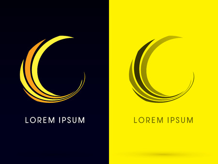 moon shadow: Abstract  Moon building logo designed using line curve logo symbol icon graphic vector.