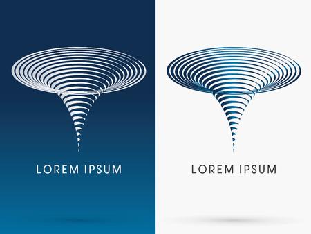 tornado wind: TyphoonTornado Storm designed using line cycle shape logo symbol icon graphic vector. Illustration