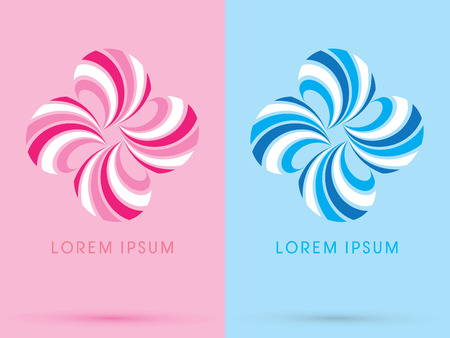 spin: Sweet flower  abstract shape spin on pink and blue background logo symbol icon graphic vector.