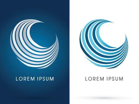 designed: Wave water Abstract shape designed using blue line curve logo symbol icon graphic vector.