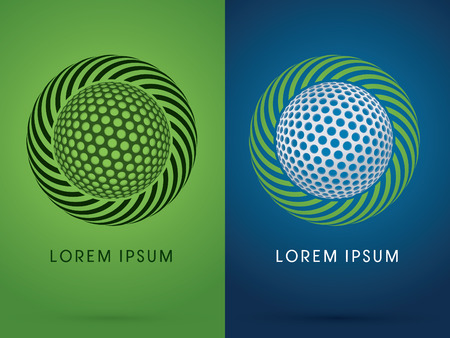 spin: Golf ball on spin circle background logo symbol icon graphic vector. Illustration
